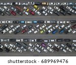 aerial view of crowded car... | Shutterstock . vector #689969476