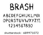 hand drawn dry brush font.... | Shutterstock .eps vector #689971072