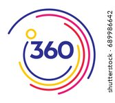 360 degrees modern company logo with colorful circle lines