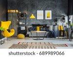 freelancer's room with gray... | Shutterstock . vector #689989066
