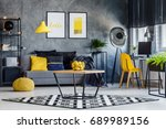masculine room decor with... | Shutterstock . vector #689989156