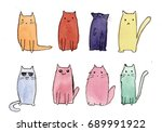 cute cats watercolor sketch | Shutterstock . vector #689991922