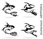 shark set  on white background  ... | Shutterstock .eps vector #689992816