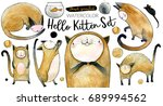 Stock photo hello kitten watercolor set hand painted illustrations of cats for children s books or cards 689994562