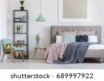 big bed with cute pastel... | Shutterstock . vector #689997922