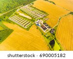 aerial view to biogas plant... | Shutterstock . vector #690005182