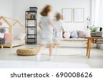 blurred view of energetic young ... | Shutterstock . vector #690008626