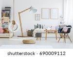cute stylish scandi room of... | Shutterstock . vector #690009112