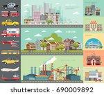 big city concept.... | Shutterstock .eps vector #690009892