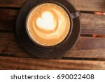 top down view of a hot drink ... | Shutterstock . vector #690022408