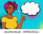 comic girl. sexy african... | Shutterstock .eps vector #690025312