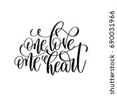 one love one heart black and... | Shutterstock .eps vector #690031966