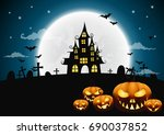 halloween night background with ... | Shutterstock .eps vector #690037852