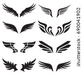 wings icons set | Shutterstock .eps vector #690041902