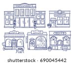 buildings facade front view.... | Shutterstock . vector #690045442