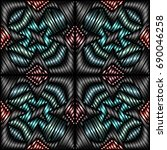 embroidery colorful pattern... | Shutterstock .eps vector #690046258