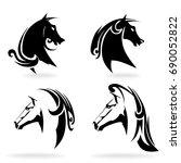 horse set  on white background  ... | Shutterstock .eps vector #690052822