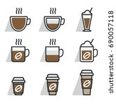 coffee different cups. vector... | Shutterstock .eps vector #690057118