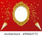 oval vintage frame on red wall  ... | Shutterstock .eps vector #690063772