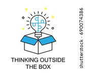thinking outside the box ... | Shutterstock .eps vector #690074386
