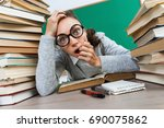 student in shock. photo of... | Shutterstock . vector #690075862