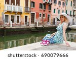 travel tourist woman with... | Shutterstock . vector #690079666