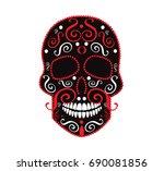 skull symbol  totem  red and... | Shutterstock .eps vector #690081856