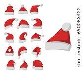 santa claus fashion red hat... | Shutterstock .eps vector #690083422