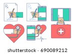 doctor signing a rx... | Shutterstock .eps vector #690089212