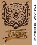 tiger face  | Shutterstock .eps vector #690091426