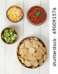 taco corn chips and salsa shot... | Shutterstock . vector #690091576