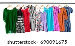 dresses and sundresses hanging... | Shutterstock . vector #690091675