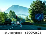 road work under mountain velky... | Shutterstock . vector #690092626