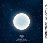 glowing milky full moon in... | Shutterstock .eps vector #690094876