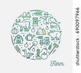 farm  thin line icons circular... | Shutterstock .eps vector #690097966