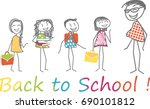 children with their satchels... | Shutterstock .eps vector #690101812