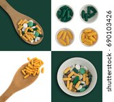 Small photo of Various Medicine Pills and Tablets Isolated. Pharmacy Templates with Different Kind of Medical Pills and Capsules. Big dosage cup or overdose concept