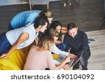 group of creative young friends ... | Shutterstock . vector #690104092