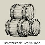 vector hand drawing wood barrel ... | Shutterstock .eps vector #690104665