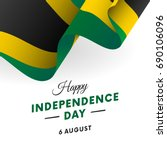 jamaica independence day. 6... | Shutterstock .eps vector #690106096