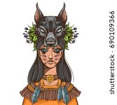 a woman with a mask of a wolf.... | Shutterstock .eps vector #690109366