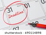 deadline written on a calendar  ... | Shutterstock . vector #690114898