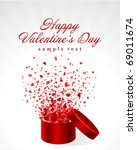 hearts fly from open gift... | Shutterstock .eps vector #69011674