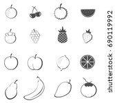fruit icons set vector | Shutterstock .eps vector #690119992