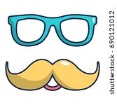 nerd glasses and mustaches icon.... | Shutterstock .eps vector #690121012