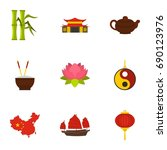 chinese icon set. flat style... | Shutterstock .eps vector #690123976