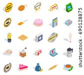 caff icons set. isometric set... | Shutterstock .eps vector #690128875