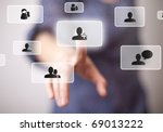 hand pressing social media... | Shutterstock . vector #69013222