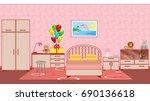 children bedroom interior with... | Shutterstock . vector #690136618