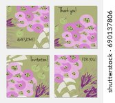 hand drawn creative invitation... | Shutterstock .eps vector #690137806